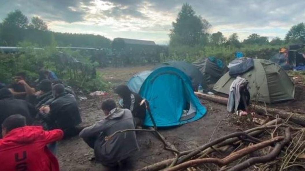 Группа нелегальных мигрантов застряла на границе между Беларусью и Польшей